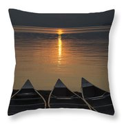 Canoes At Sunrise Throw Pillow