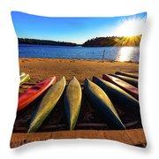 Canoes At Sunset Throw Pillow