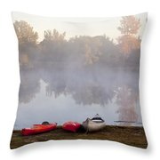 Canoes By A Foggy Lake In Autumn Throw Pillow