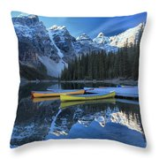 Canoes Under The Peaks Throw Pillow