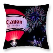 Canon - See Impossible - Hot Air Balloon With Fireworks Throw Pillow