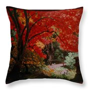 Canopy Of Red Throw Pillow