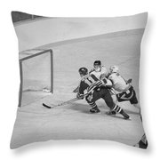 Canucks And Oilers Throw Pillow