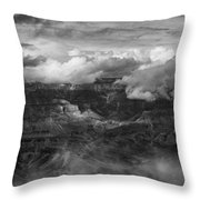 Canyon In Clouds Bw Throw Pillow