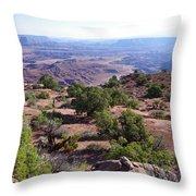 Canyonlands Park Utah Blue To Green Vista Throw Pillow