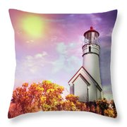 Cape Blanco Lighthouse In Oregon Throw Pillow