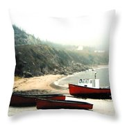 Cape Breton Fishing Boats Throw Pillow