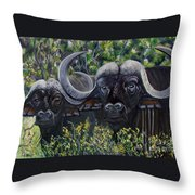 Cape Buffalo First Painting Throw Pillow