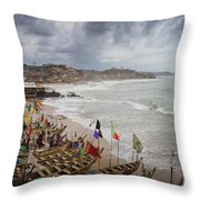 Cape Coast Fishing Village Throw Pillow