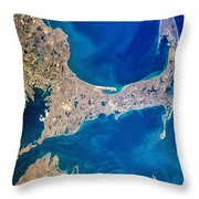 Cape Cod And Islands Spring 1997 View From Satellite Throw Pillow
