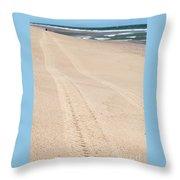 Cape Cod Beach With Tire Tracks Throw Pillow