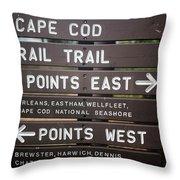 Cape Cod Rail Trail Sign Eastham Throw Pillow
