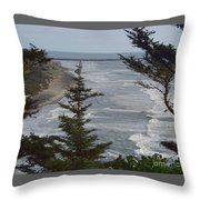 Cape Disappointment Beach Throw Pillow