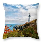 Cape Elizabeth Maine - Portland Head Lighthouse Throw Pillow