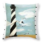 Cape Hatteras Lighthouse - Fish Border Throw Pillow