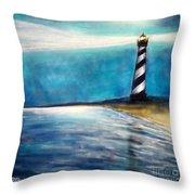 Cape Hatteras Lighthouse Night Glow Throw Pillow