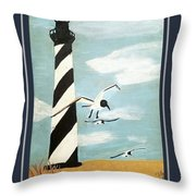 Cape Hatteras Lighthouse - Ship Wheel Border Throw Pillow