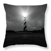 Cape Hatteras Light And The Milky Way Galaxy Throw Pillow