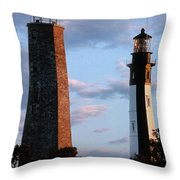 Cape Henry Lighthouses In Virginia Throw Pillow by Skip Willits