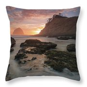 Cape Kiwanda At Sunset Throw Pillow