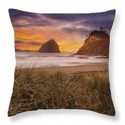 Cape Kiwanda In Pacific City Beach At Sunset Throw Pillow