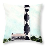 Cape Lookout Lighthouse Outer Banks North Carolina Throw Pillow