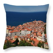 Cape Madonna At Point Of Piran Slovenia On Blue Adriatic Sea Wit Throw Pillow