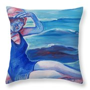 Cape May 1920s Girl Throw Pillow