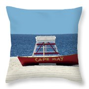 Cape May Lifeguard Station Boat Throw Pillow