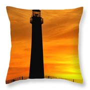 Cape May Light Sunset Throw Pillow