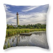 Cape May Lighthouse From The Pond Throw Pillow
