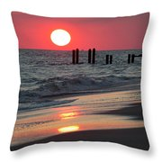 Cape May Nj Sunset, Philadelphia Beach Throw Pillow