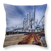 Cape May Scallop Fishing Boat Throw Pillow