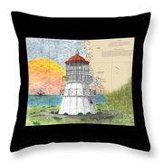 Cape Mendocino Lighthouse Ca Nautical Chart Map Throw Pillow