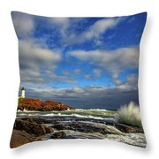 Cape Neddick Lighthouse Throw Pillow by Rick Berk