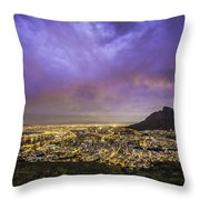 Cape Town From Signal Hill At Sunset Throw Pillow