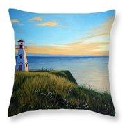 Cape Tryon Lighthouse Throw Pillow