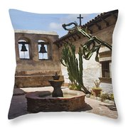 Capistrano Mission Courtyard Throw Pillow
