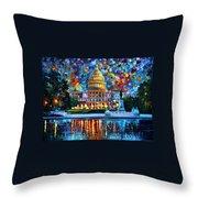 Capital At Night - Washington Throw Pillow