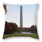 Capital Autumns - The Washington Monument - Under The Trees Throw Pillow