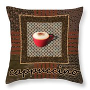 Cappuccino - Coffee Art - Red Throw Pillow