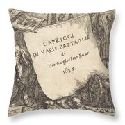 Capricci Di Varie Battaglie (title Page) Throw Pillow