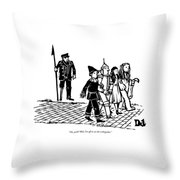 Captain Ahab Stands Speaking At The Yellow Brick Throw Pillow