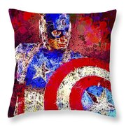 Captain America Throw Pillow by Al Matra