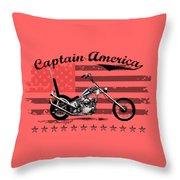 Captain America Throw Pillow by Mark Rogan