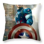 Captain America With Helmet Throw Pillow