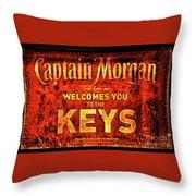 Captain Morgan Welcome Florida Keys Throw Pillow