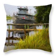 Captains Boat Throw Pillow
