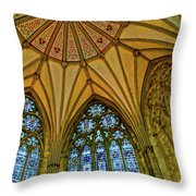 Chapter House Ceiling, York Minister Throw Pillow