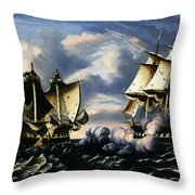 Capture Of H.b.m. Frigate Macedonian By U.s. Frigate United States, October 25, 1812  Throw Pillow